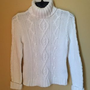 Ralph Lauren White Cable Knit Turtleneck Sweater
